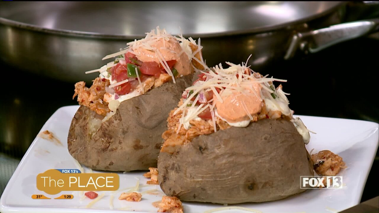 Finish off the leftover turkey with this loaded potato recipe