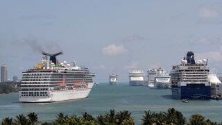 Cruise ships at PortMiami, cruising