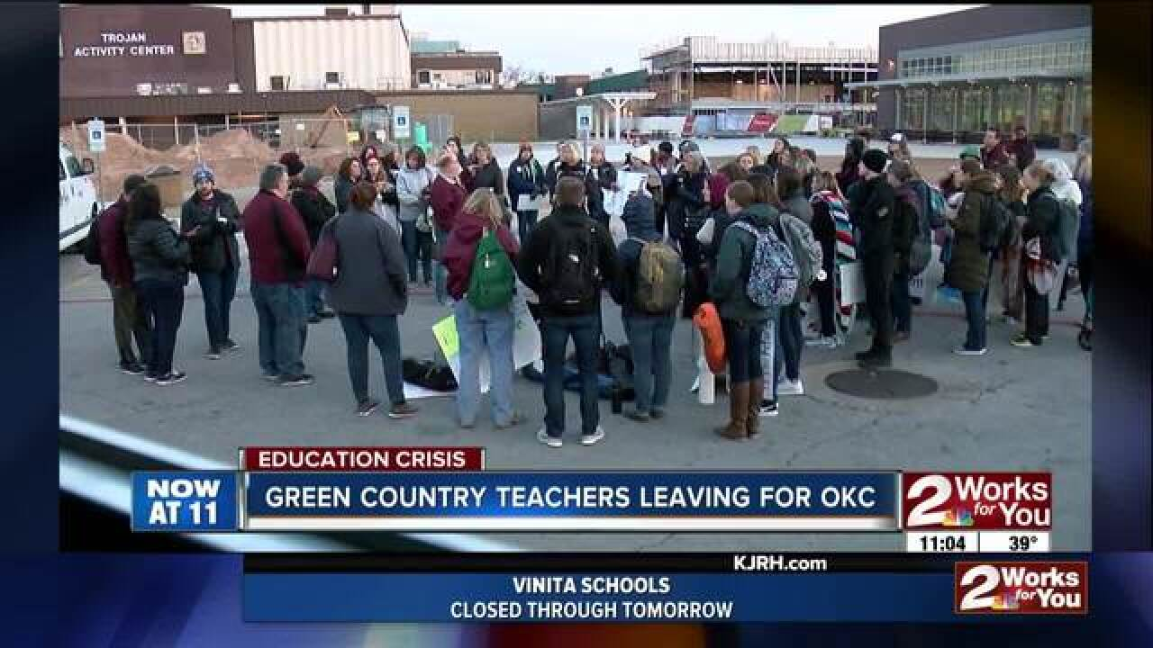 Local teachers head to OKC on day 3 of walkout