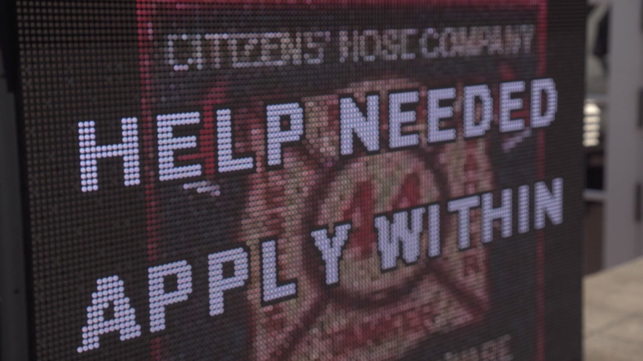 Citizens' Hose Company in Smyrna, Delaware, has a sign out front, looking for additional volunteer firefighters for the department.