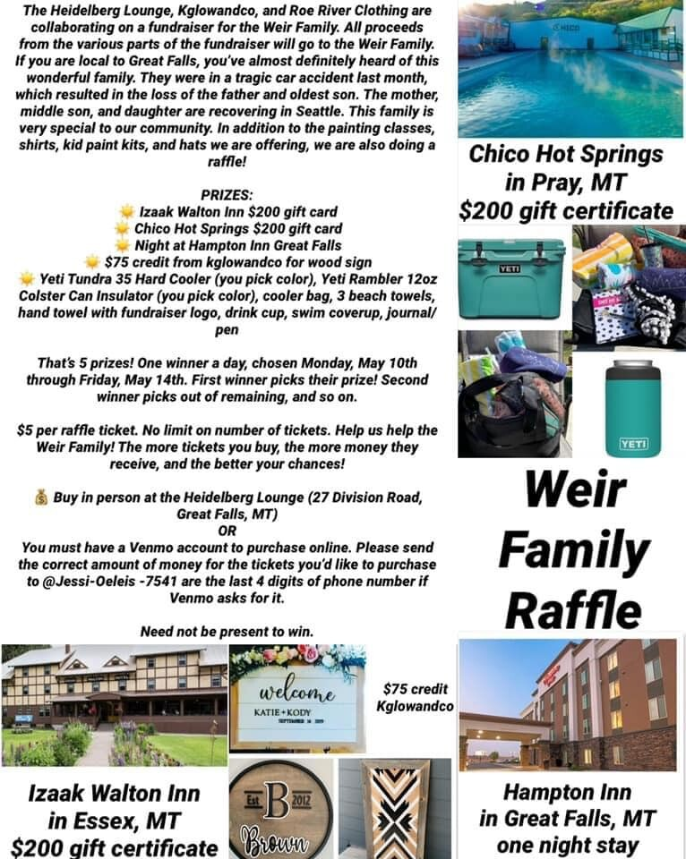RAFFLE TO HELP THE WEIR FAMILY