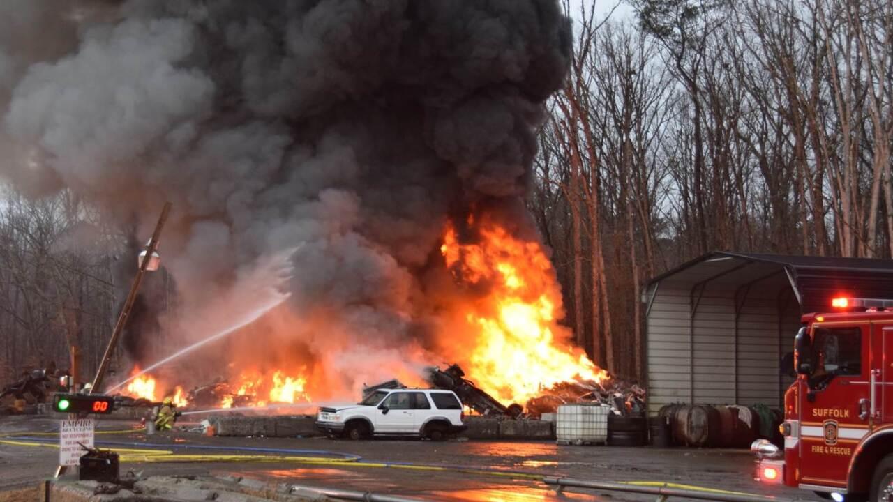 Suffolk fire crews battle scrap metal fire on SuburbanDrive