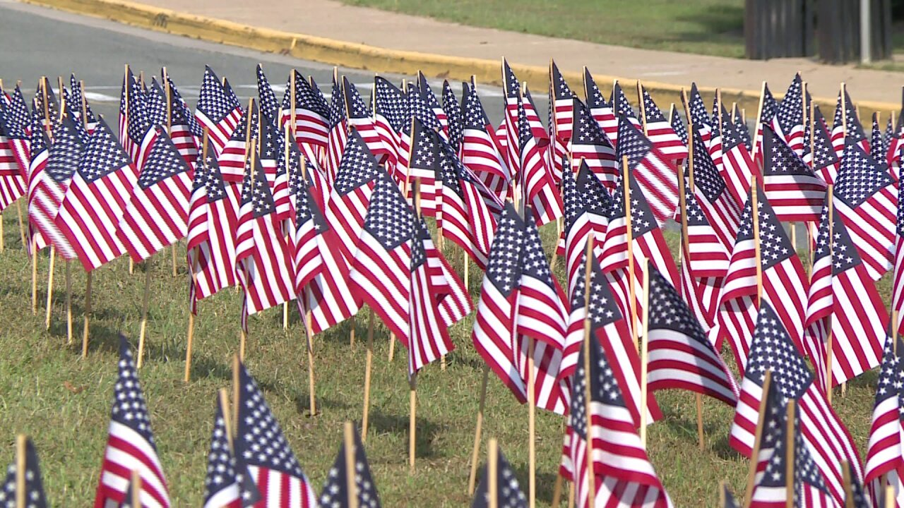 James River High School Navy JROTC lays flags to honor 9/11victims