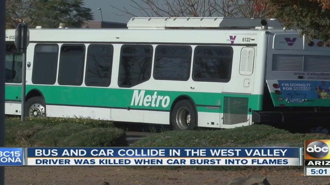 Video shows fiery bus crash that killed man