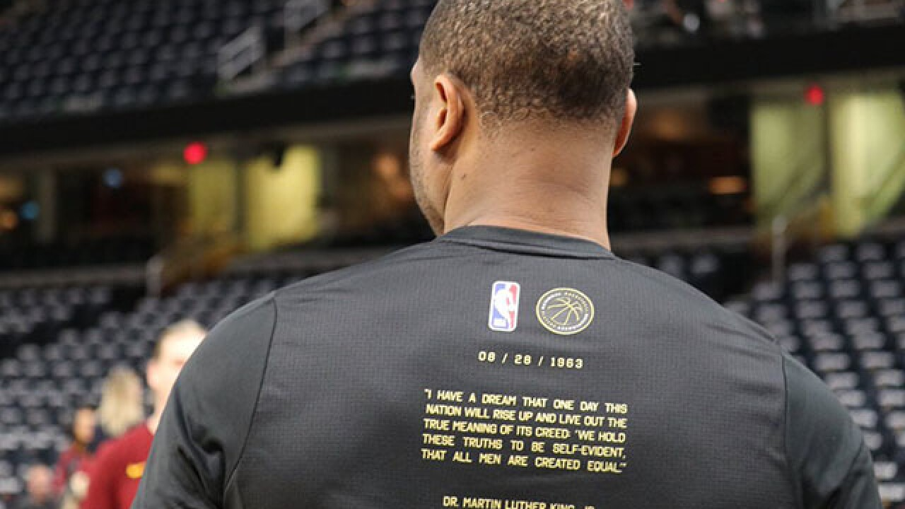 Cavs wear special MLK Day shooting shirts