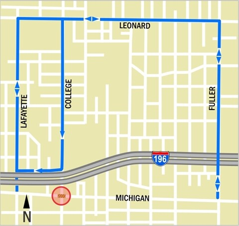 Map Michigan and College Ave closing and detours