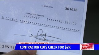 Problem Solvers: Contractor who called police repays man $2,360 after severalmonths