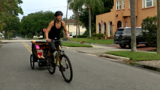 Andrea Messina riding her bike