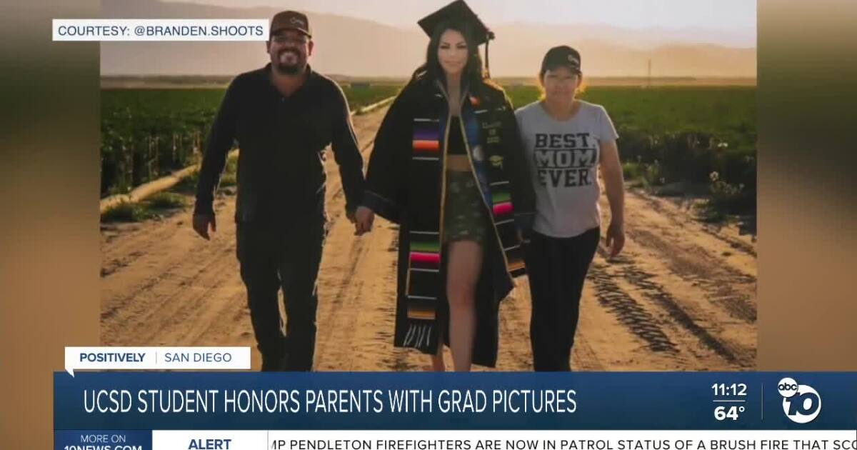 UCSD student honors parents with graduation pictures in farm fields