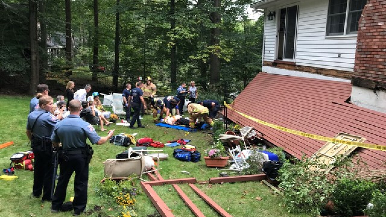 Deck falls in Ellicott City; Fire & EMS on scene
