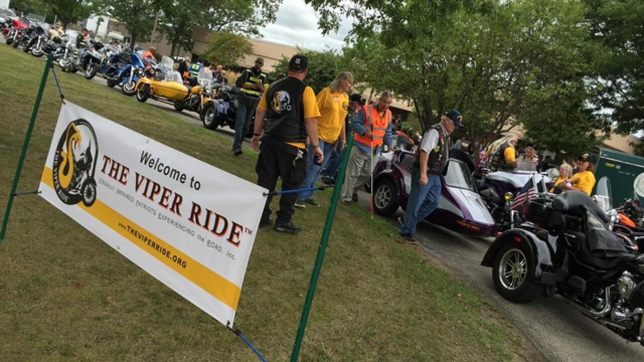 Dozens of blind vets taken on motorcycle rides