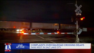 Commuters on 5600 West frustrated by long stops as trains block road atcrossing