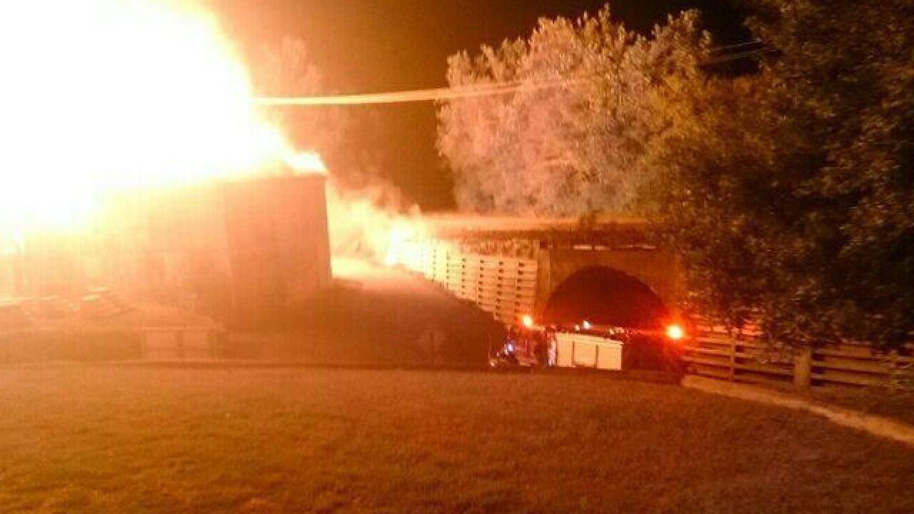 WATCH: Crews battle blaze in Maysville