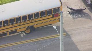 aerial of school bus crash in Boynton Beach, Aug. 27, 2021