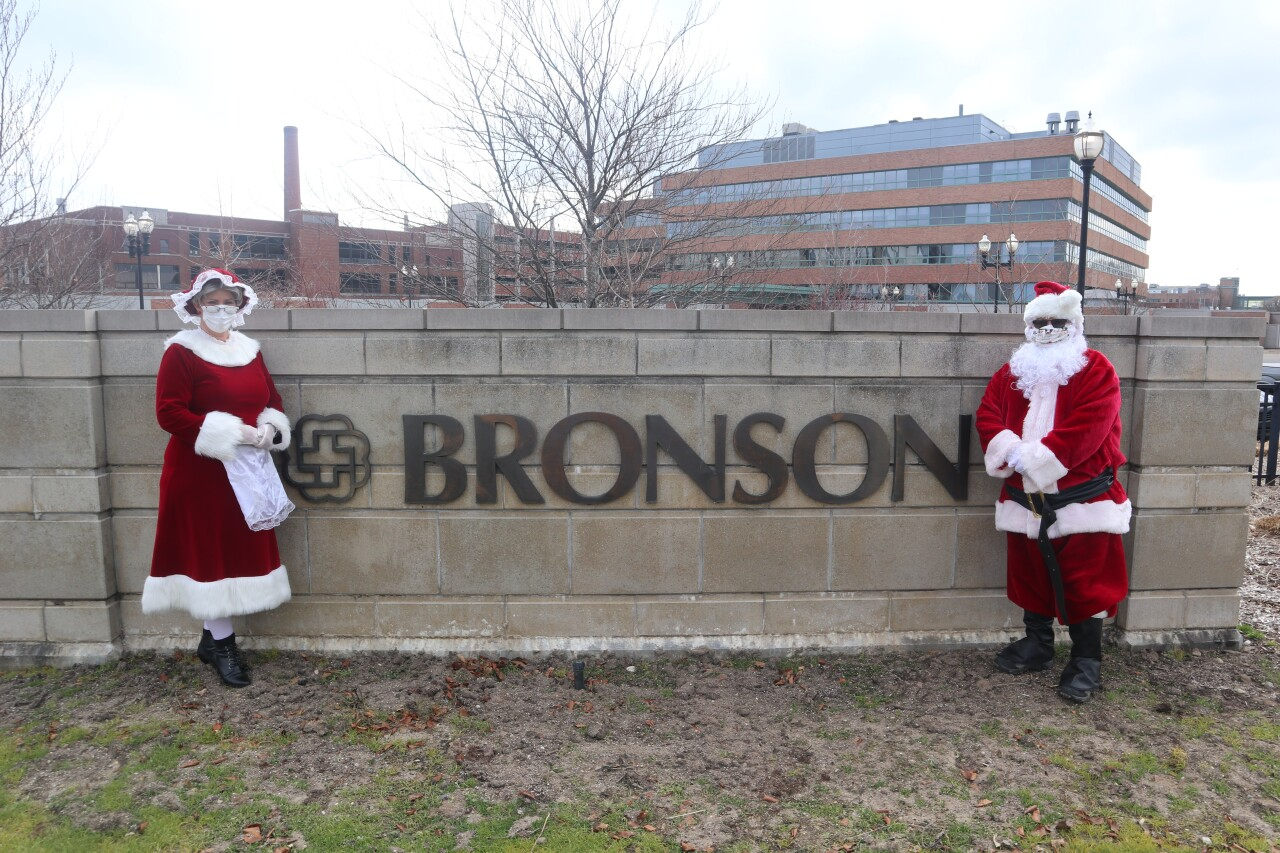 Santa and Mrs. Claus at Bronson Children's Hospital