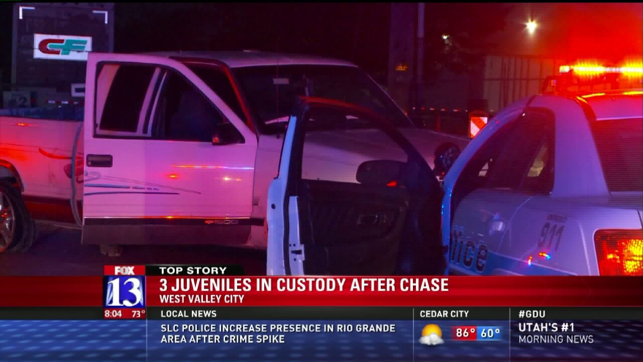 Police arrest 3 juveniles after chase from West Valley to Salt Lake