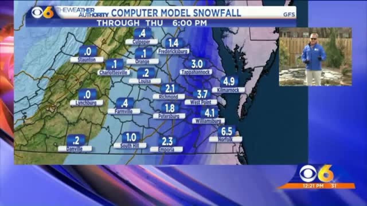 Significant snow expected in easternVirginia