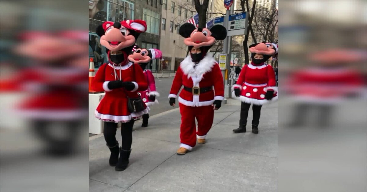 Times Square costumed characters head to Rockefeller Center