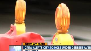 Crews alert city to possible underground hole on Genesee