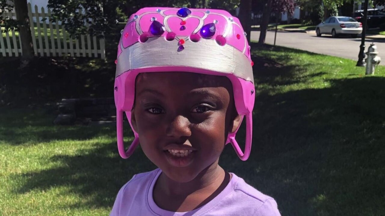 Artist transforms helmet into tiara for 5-year-old who was shot in thehead