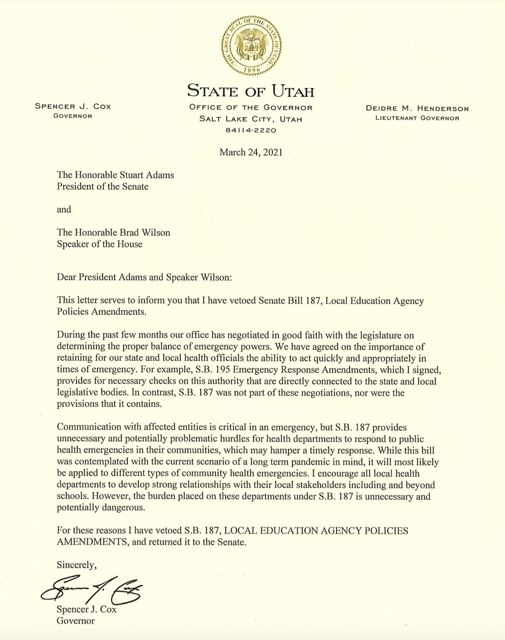 SB187 veto