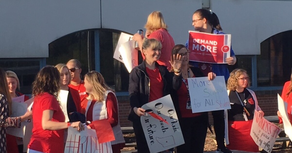Teachers participate in rally at Westlane Middle School