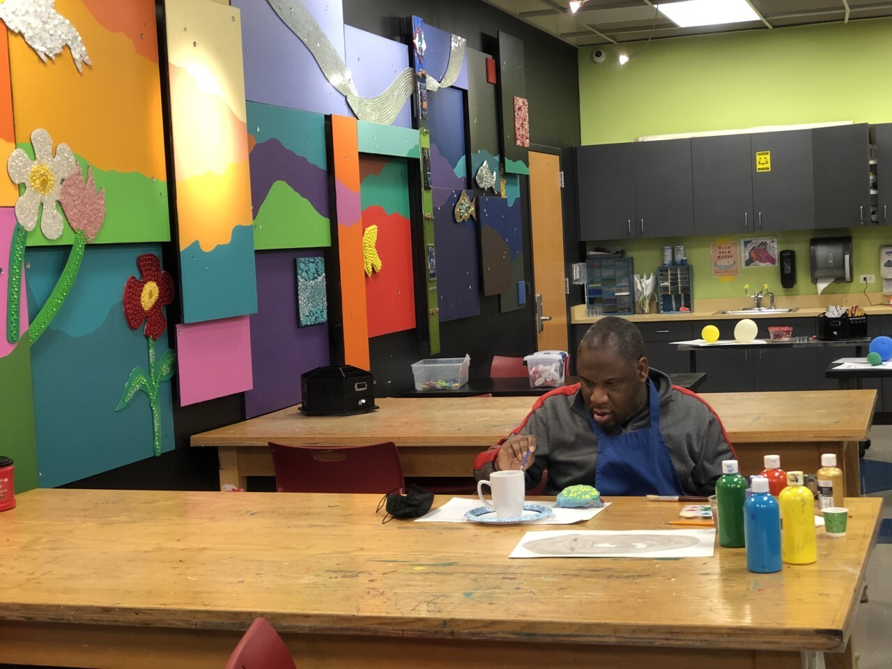Anthony Risby enjoys the art room in Goodwill Possibilities