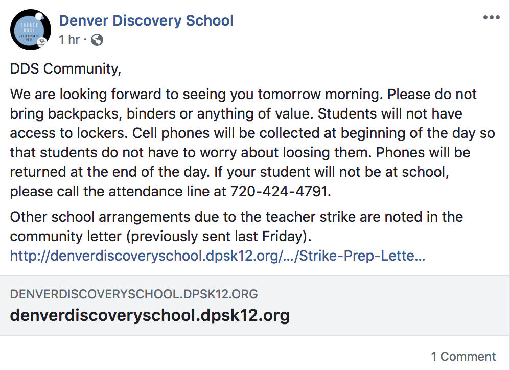 denver discovery school note