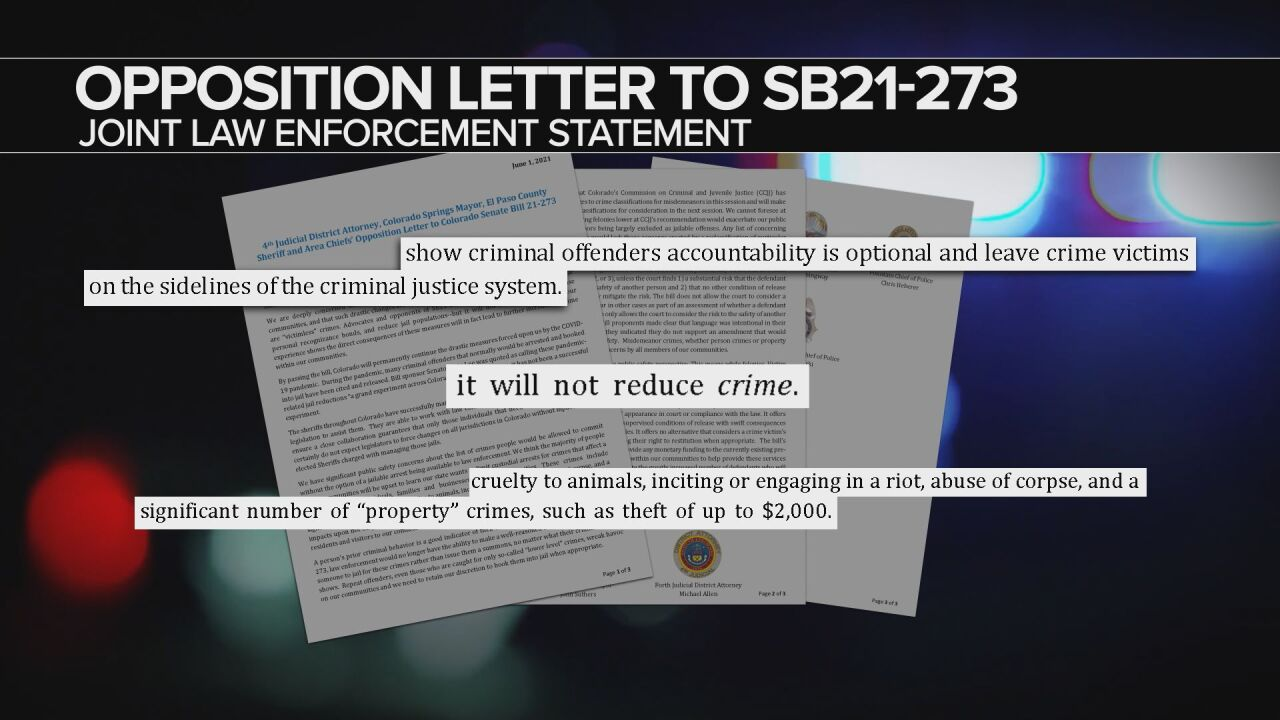 SB21-273 Opposition Letter from several El Paso County law enforcement agencies