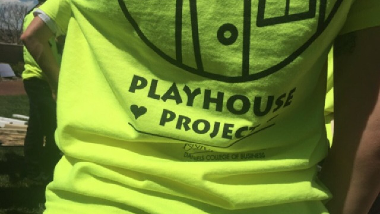 Wounded vet's daughter gets new playhouse