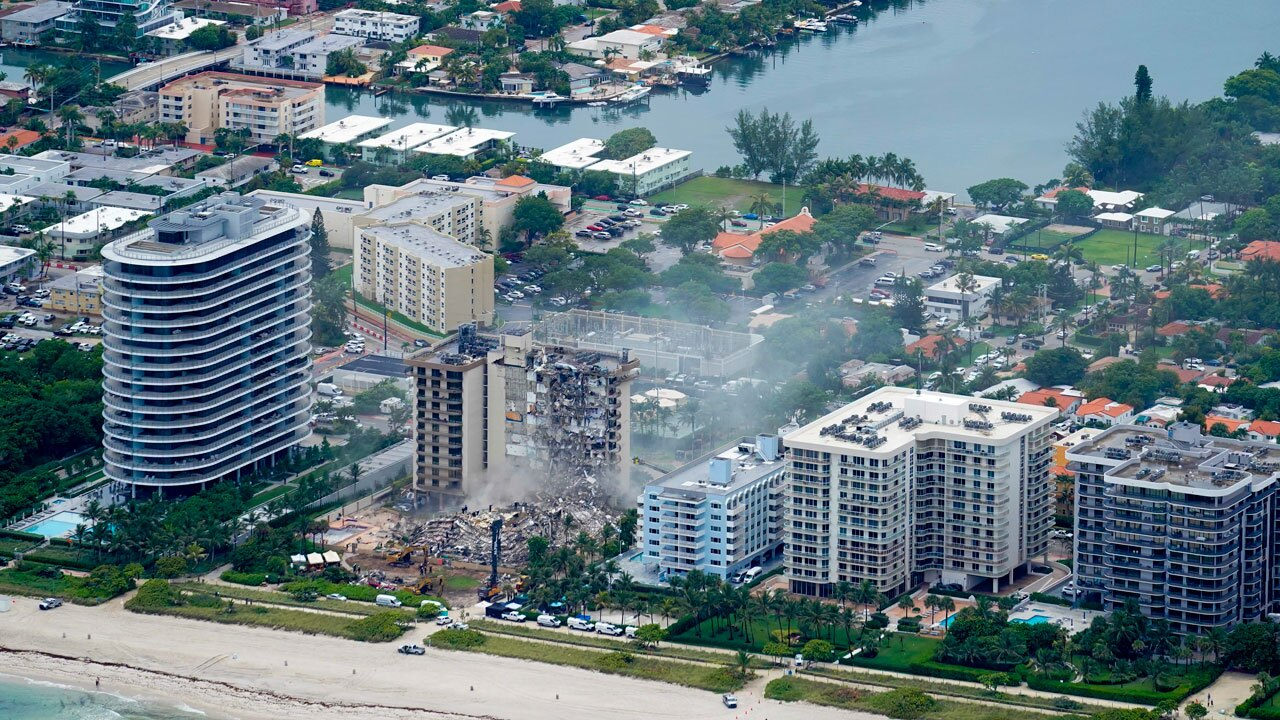 Surfside building collapse aerial view, June 25, 2021