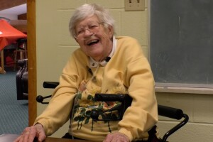 Dorothy Roeder shares laughs and smiles with her friends at the Bozeman Senior Center.