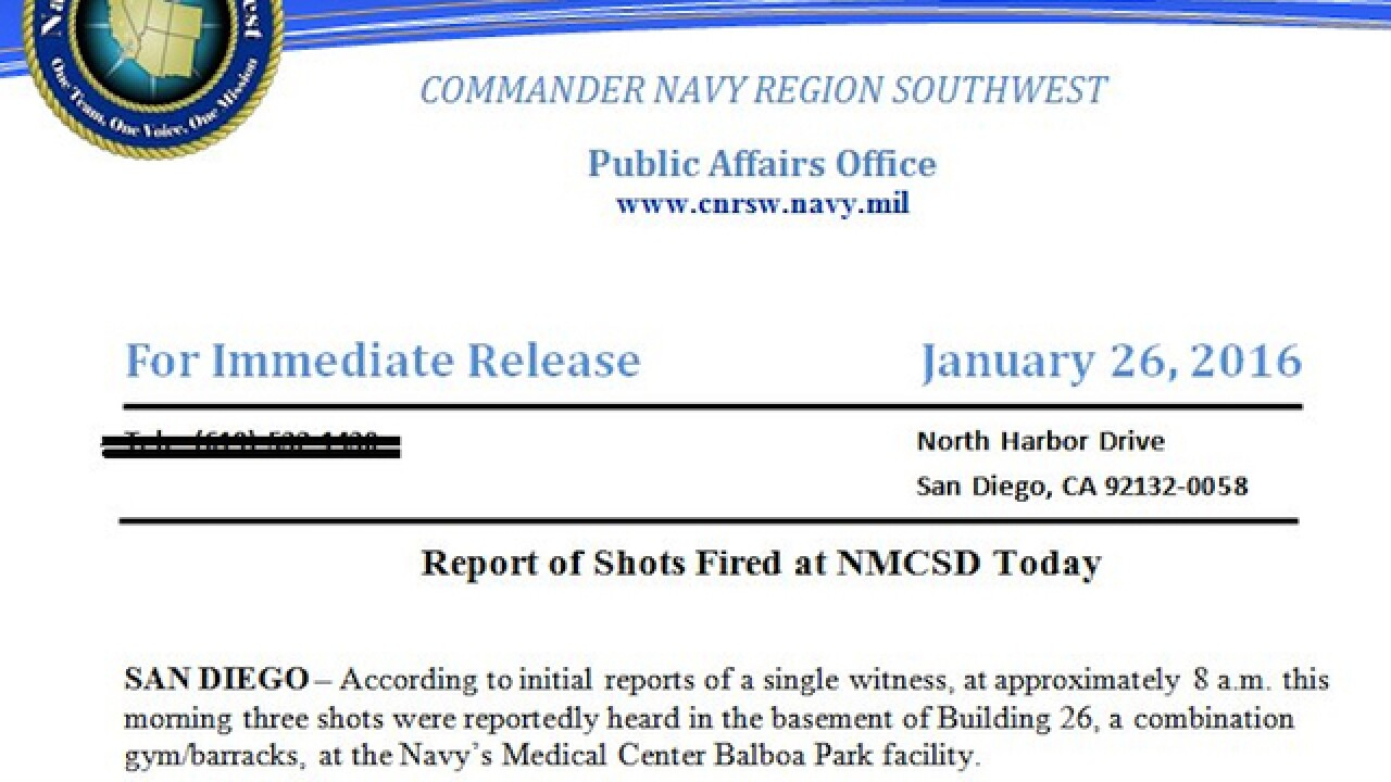Report: Shots fired at Naval Medical Center