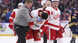 Red Wings Perlini cleared to travel after cut across face