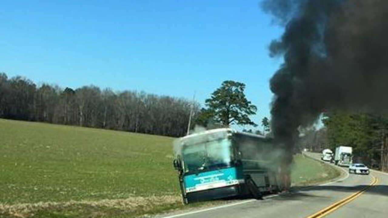 Firefighters respond to bus fire in Southampton County
