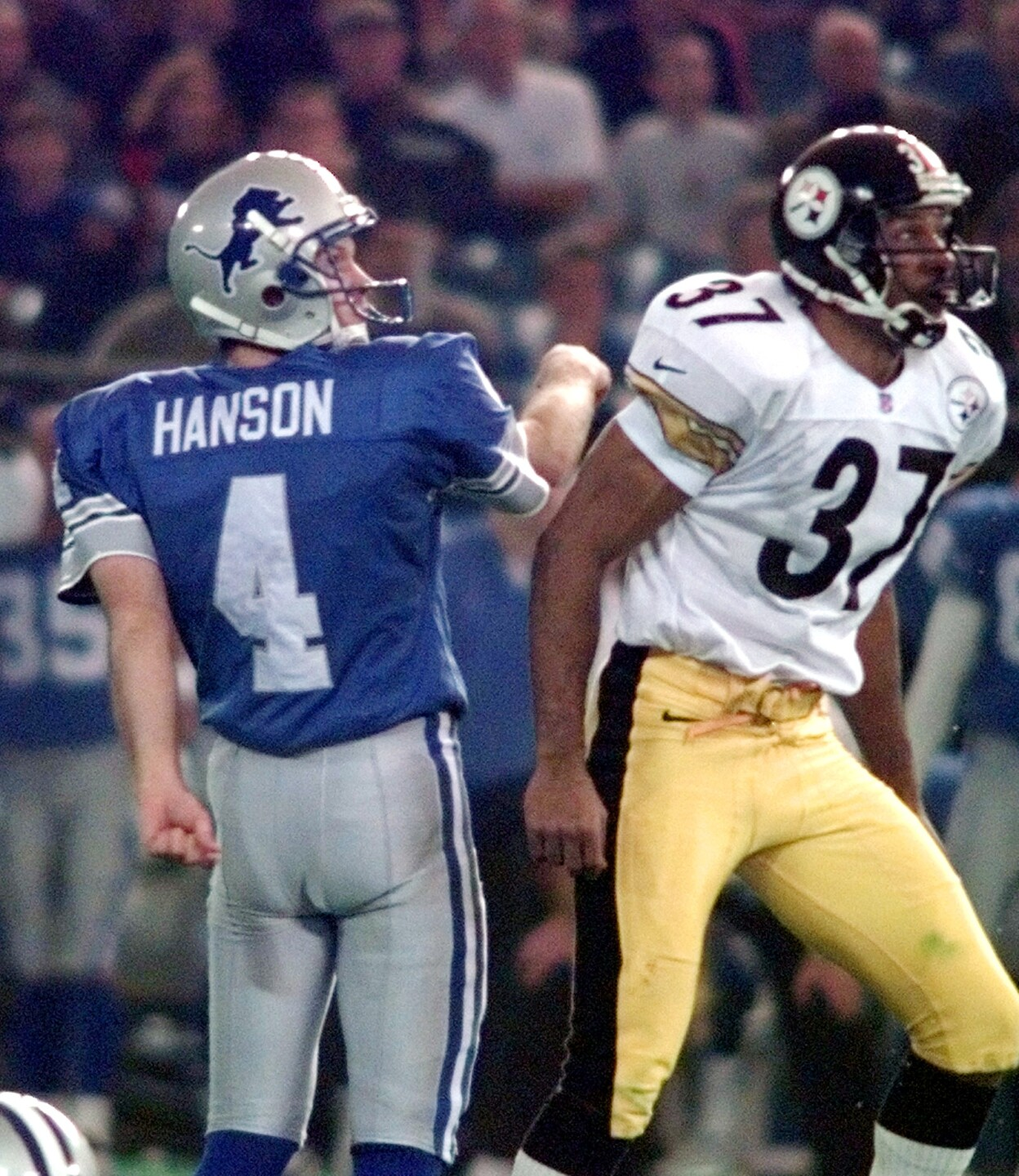 Detroit Lions kicker Chris Hanson after kicking game-winning FG vs. Pittsburgh Steelers on Thanksgiving in 1998