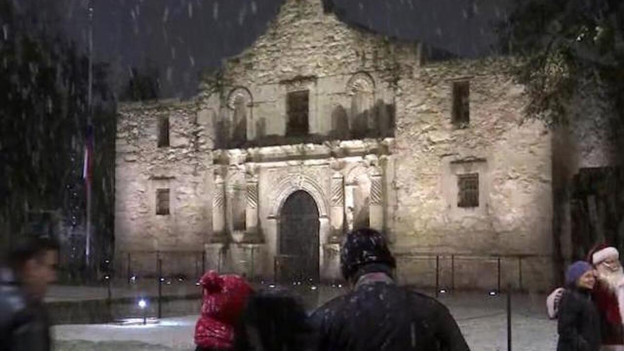 Rare snow event hits south Texas