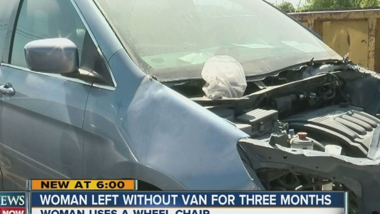 Woman fighting insurance company to fix van