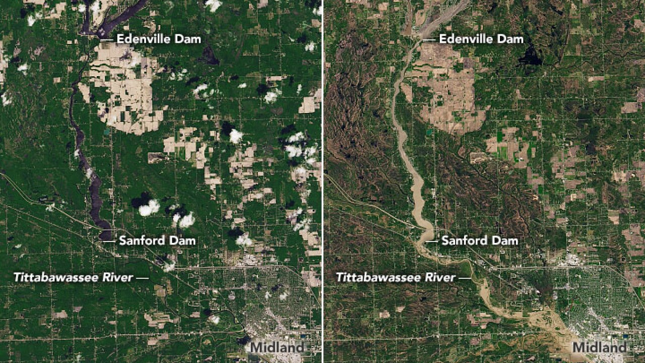Satellite images show before-and-after of catastrophic flooding in mid-Michigan