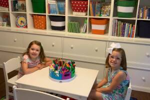 Nora and Anna LaBelle's at-home classroom. Both are learning virtually this fall in the Grosse Pointe Public School District.