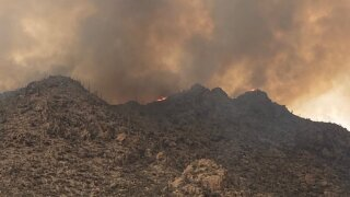 The Dove Fire is one of two wildfires burning in the Tortolita Mountains Thursday evening.