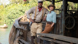 Dwayne Johnson as Frank and Emily Blunt as Lily in Jungle Cruise. Photo by Frank Masi. Copyright 2020 Disney Enterprises, Inc. All Rights Reserved.