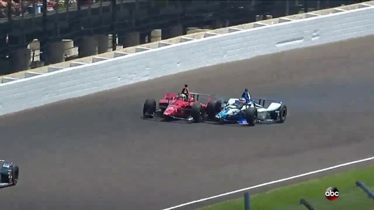 Takuma Sato out of the Indy 500 after a crash with James Davison in Lap 47