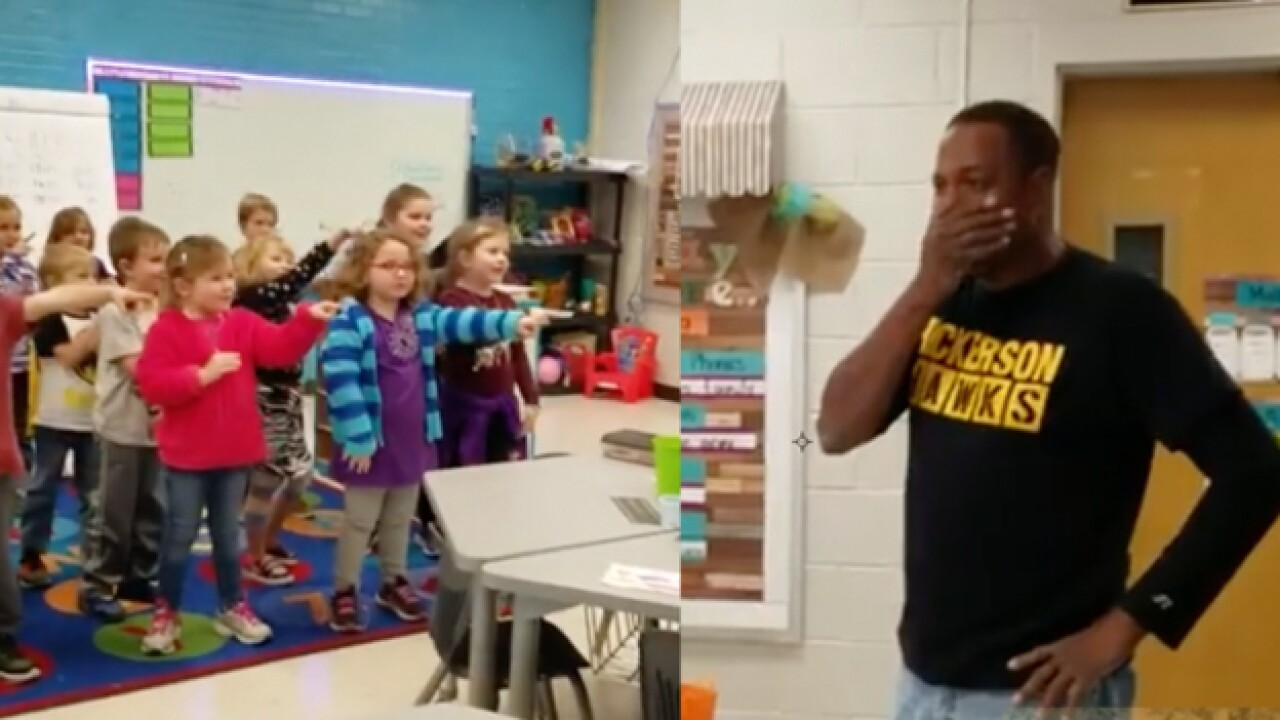 Kindergarten class gives special birthday surprise to custodian