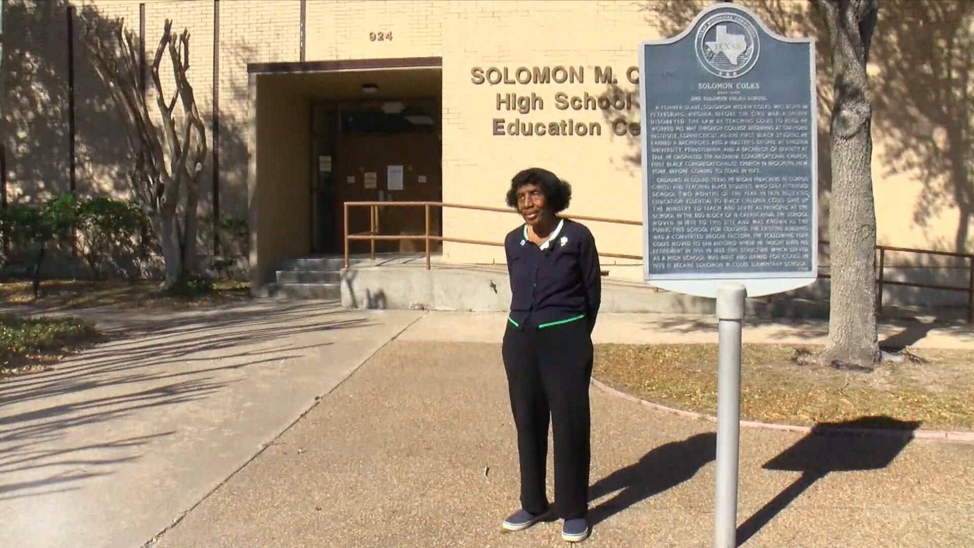 Dr. Gloria Scott in front of Solomon Coles school.jpg