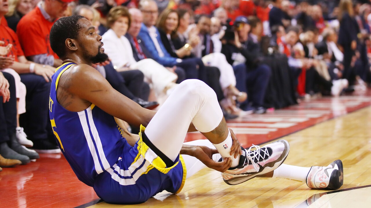 Kevin Durant goes down, limps off court in Game 5