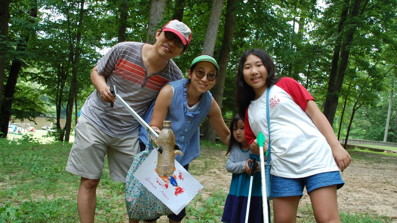 This family at Pocahontas State Park was excited to take part in their first Clean the Bay Day (Credit Kenny Fletcher).JPG