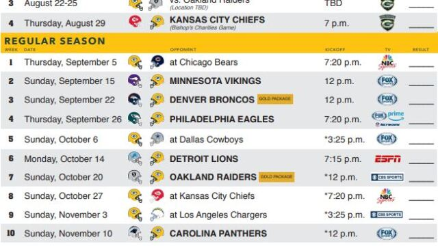 Ambitious image with printable packer schedule