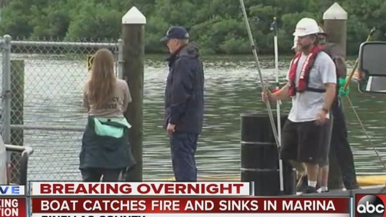 Boat in Pinellas marina catches fire, sinks