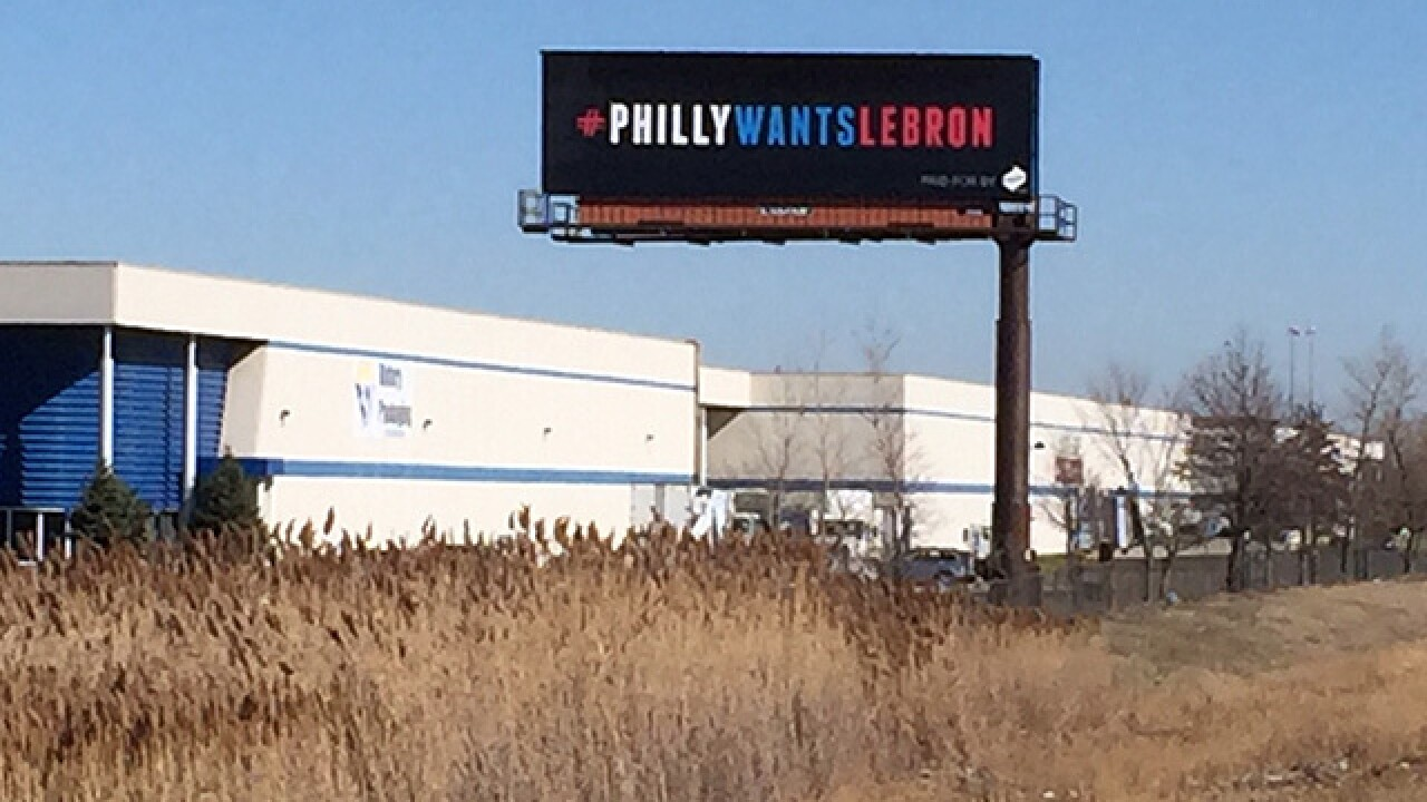 CLE billboard tries to entice LeBron to 76ers